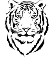 tiger head in black interpretation vector image vector image