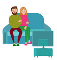 unhappy couple watching tv television addiction vector image