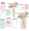 Wedding Flower with Mason Jar vector image vector image