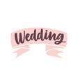 wedding word handwritten with cursive calligraphic vector image vector image