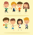 cheerful school boys and girls make a jump vector image