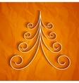 White 3d paper christmas tree on orange background vector image