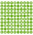 100 clothing icons hexagon green vector image vector image