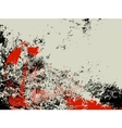 Abstract grunge background ink splashes in red and vector image