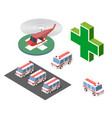 ambulance helicopter and car vector image