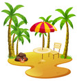 beach scene with dining table and trees vector image vector image