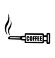 black syringe with word COFFEE vector image vector image