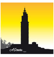 black white silhouette tower hercules in a coruna vector image