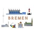 Bremen Landmarks Skyline vector image vector image