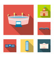building and architecture flat icons in set vector image vector image