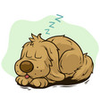 cartoon cute sleeping dog showing tongue vector image