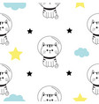 cat spaceman head hands cloud star shape cute vector image