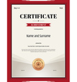 Certificate of achievement template in red theme vector image vector image
