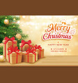christmas greeting card with gifts boxes on vector image vector image