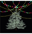 Christmas New Year firtree Bright festive lights vector image vector image