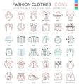 clothes shoes color line outline icons vector image