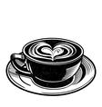 coffee latte or tea with heart swirl vector image