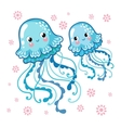 Couple smiling jellyfish floating in the sea vector image vector image