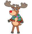 cute standing christmas elk vector image