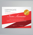 diploma certificate template design in red color vector image vector image