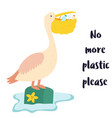 eco poster pelican and waste inside the beak vector image vector image