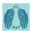 elegant grunge emblem with angel wings vector image