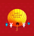flat chinese lantern and rabbit happy mid autumn vector image vector image