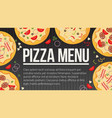 flat style pizza card menu vector image vector image