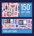 gift card vouchers for beauty products with vector image