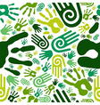 Go green hands seamless pattern vector image vector image