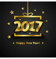 Golden gift box with 2017 Happy New Year greeting vector image vector image