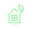 green thin line eco house logo vector image vector image