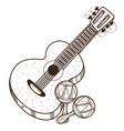 guitar maracas outline of a summer theme vector image vector image