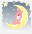 happy hare who sits on the moon vector image vector image