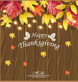 happy thanksgiving card fall leaves over vector image vector image