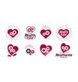health healthcare logo heart gears vital vector image