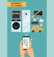 internet things concept design with male hands vector image vector image