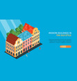 isometric old town horizontal banner vector image vector image