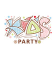 kids party logo hand grawn lettering vector image