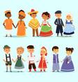lttle kids children couples character of world vector image vector image