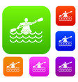 male athlete in a canoe set collection vector image vector image