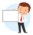 Man holding whiteboard vector image vector image