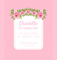 pink bagirl birthday invitation card is turning vector image