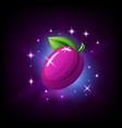 purple plum with green leaf and sparkles slot vector image vector image