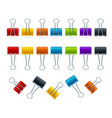 realistic 3d detailed color binder clips set vector image