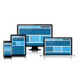 responsive web design in modern electronic devices vector image vector image