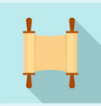 rolled open brown papyrus icon flat style vector image