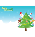 Santa Christmas Tree Decoration With Ornaments vector image vector image