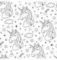 seamless pattern hand drawn unicorns vector image
