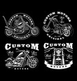 set of 4 vintage biker on dark background 3 vector image vector image